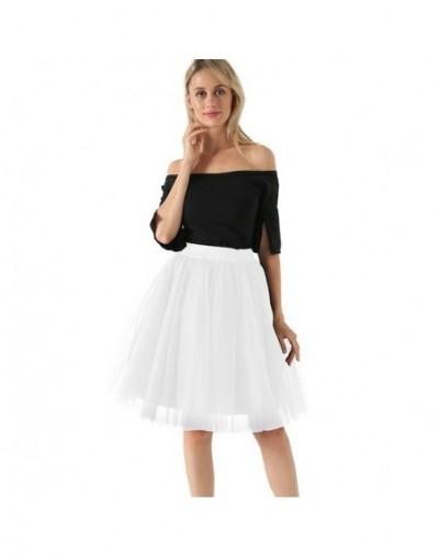 7 Layers Midi A Line Tutu Tulle Skirt High Waist Pleated Skater Skirts Womens Vintage Lolita Ball Gown Summer 2019 saias jup...