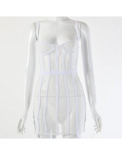 2019 New Mesh Transparent Mini Sexy Women Dress Spaghetti Strap Hollow Out Summer Dresses Casual Backless Nightclub Dress Sh...