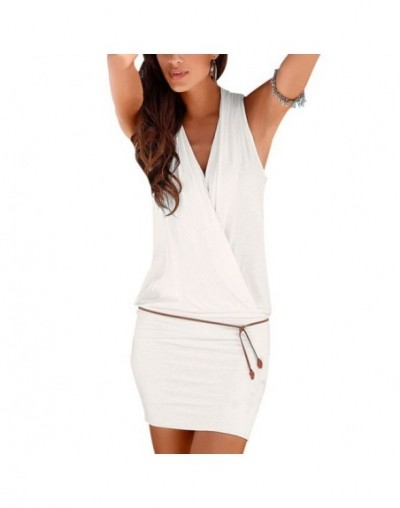 2017 Summer Fashion Women Bodycon Dress Sexy V-neck Sleeveless Mini Dress Summer Party Beach Dress - white - 413807527917-2