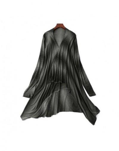 Women long Black Stripe cardigan Elegant Linen fabric Cardigan Sweater coat 2019 Spring Bohemia Women's Oversized Sweater Sh...