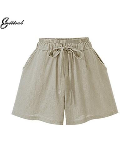 New 2019 Summer Thin Cotton Linen Women Shorts Plus Size M-6XL Casual Loose Elastic High Waist Black Khaki Bowtie Shorts - C...