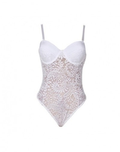 Summer bodysuit with bra pad straps lace bodysuit floral combinaison short femme bodysuits top jumpsuit R80285 - White - 4C3...