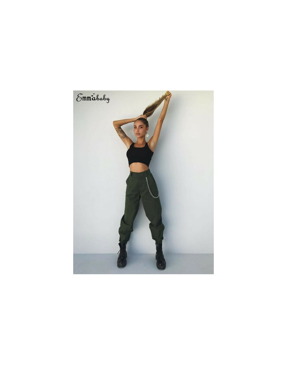 Fashion Womens Soild Cargo Trousers Casual Long Pencil Pants Military Army Combat Camouflage Capris - Army Green - 4I4116727...