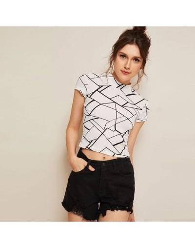 Geo Print Mock Neck T Shirt Women Casual Short Sleeve Stand Collar Tshirt Summer Slim Fit Crop Top 2019 Ladies Tops - White ...