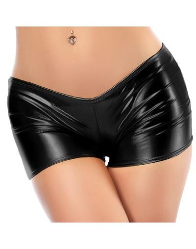 Low Waist Faux Patent Leather Short Trousers Glitter Sexy Pole Dance Booty Shorts Wetlook Mini Short Women Hot Clubwear Pant...