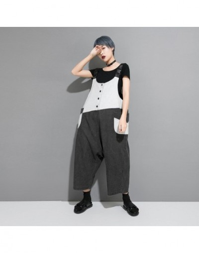 White Black Hit Color Hip Hop Jumpsuit Pocket Patchwork Street Women Clothes 2019 New Summer Ankle-length Trouser WLD1150 - ...