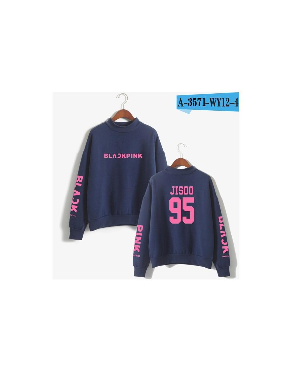 2018 BLACKPINK Girl's Group Kpop cotton Oversize Turtlenecks Hoodies Sweatshirts Women tracksuit Casual Sweatshirts - Navy b...