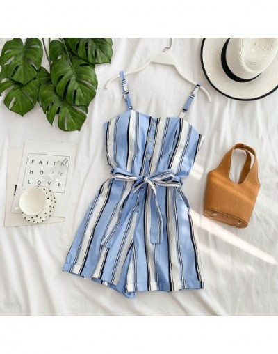 2019 Summer Women Casual Resort Playsuits Single Breasted High Waist Sashes Ladies Fashion Sling Pocket Rompers - Sky Blue ...