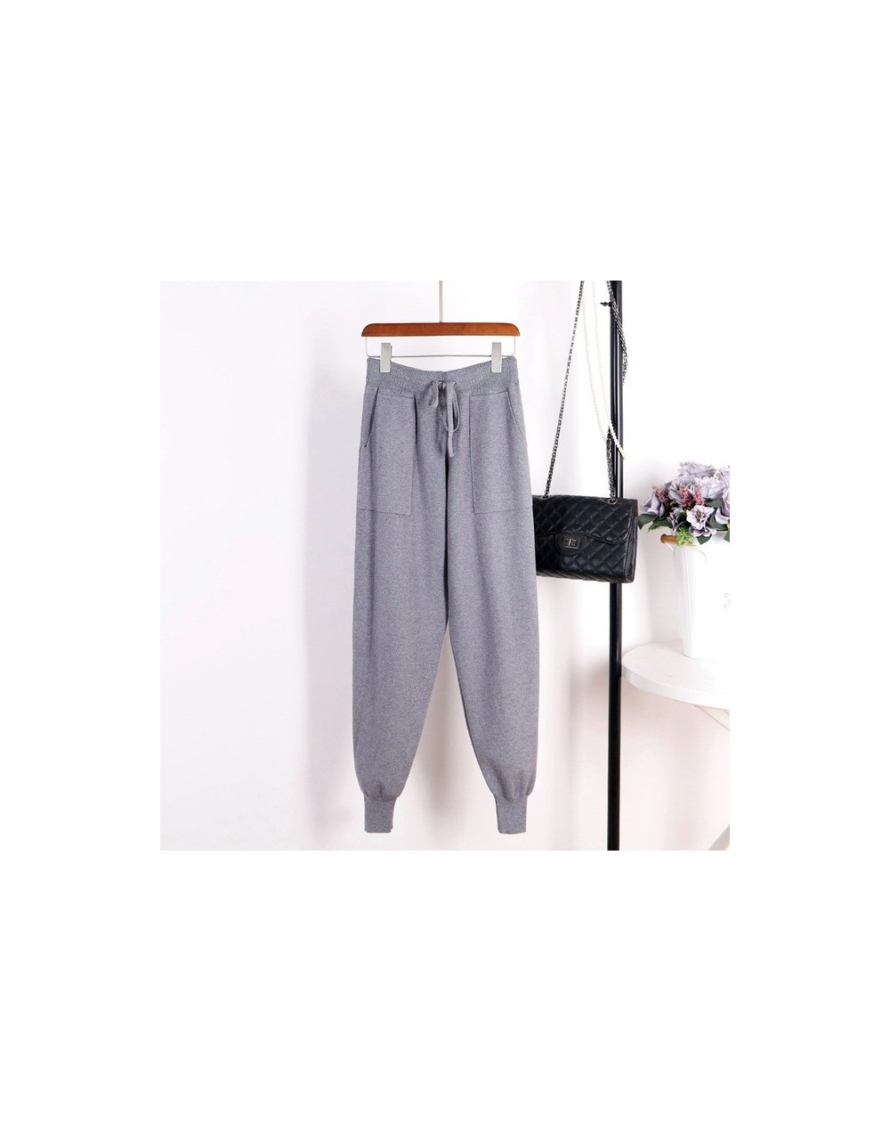 Women Casual Harem Pants Loose Trousers For Women Knitted Pants Autumn Winter Solid Color Sweater Trousers With Pockets - Gr...