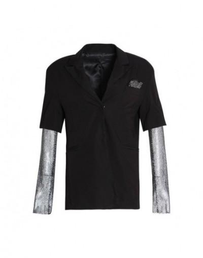 Summer Solid Blazer For Women Long Sleeve Diamond Patchwork Long Elegant Coat Female Fashion Clothing 2019 New - black - 4R4...