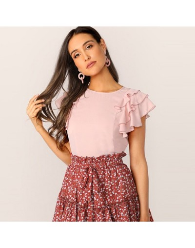 Cute Keyhole Back Layered Ruffle Sleeve Blouse Women Tops Summer Solid Round Neck Short Sleeve Womens Tops And Blouses - Pin...
