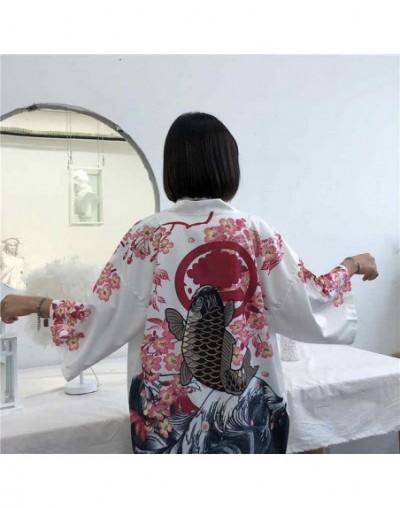 Women Harajuku Cardigan Japanese Kimono Summer Digital Printed Loose Shirt Tops Casual Woman Man Kimonos Coat 36192 - white ...
