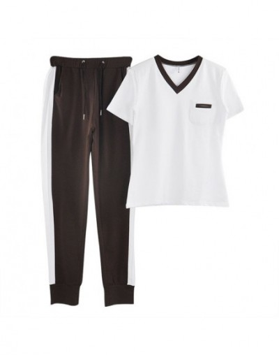 Outfit Tracksuit Sportswear for Women V-neck Short-sleeved Tops and Trousers 2 Piece Set Female Summer Clothing - Coffee - 4...