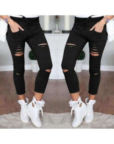 arrival Hot Multi Women Pencil Leggings Casual Denim Skinny Holes Strap Jeans Pants High Waist Slim Jeans Trousers - White -...