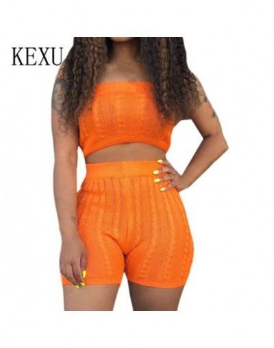 Sexy Off Shoulder Knitted Sexy Short Jumpsuits Women 2 Pieces Sets Summer Rompers Femme Bodycon Elegant Jumpsuits Overalls -...