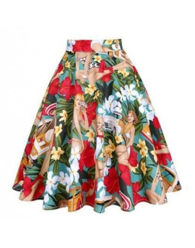 23 Patterns Vintage Retro 50s Full Circle A Line Skirt Swing Holiday Tropical Pin up Swing Skirt Knee Length Floral Skirts W...