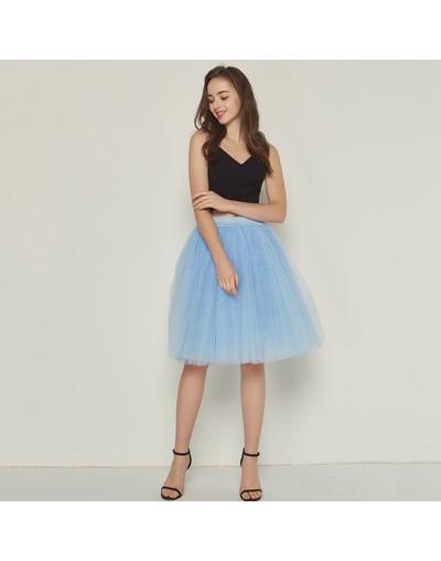 7 Layer 60cm Tulle Skirt Women Summer A-line Midi Skirts Female High Waist Tutu Pleated Skirts For Women School Sun Skirt - ...
