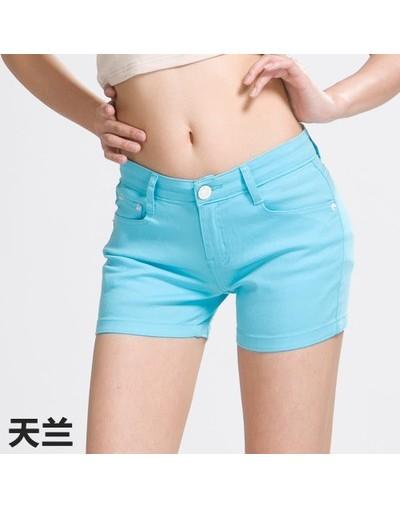 2018 Summer Denim Shorts cotton Slim Fit ladyies elastic waist sexy female Short Jeans for Women - sky blue - 4X3379184661-4