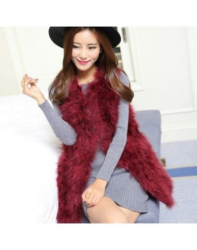 Long Real Fur Gilet Hand-knitted Natural Ostrich Feather Fur Waistcoat High Quality Genuine Fluffy Fur Fever Vest Charcoal G...