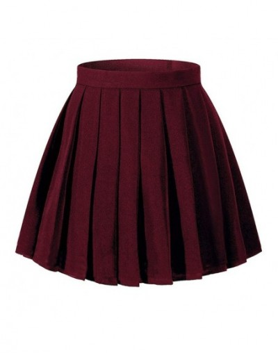 Women High Waist Pleated Skirt Mini Skirts Girl School Uniform Plaid Skirt Cosplay Costumes - Dark red - 4I3066173332-1