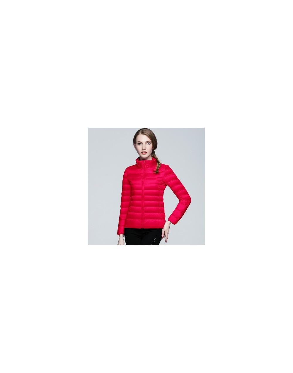 2018 Parkas Women Winter Coat Women Thin Outerwear 90% White Duck Down Stand Collar Warm Pockets Zipper Pockets Coat - red -...