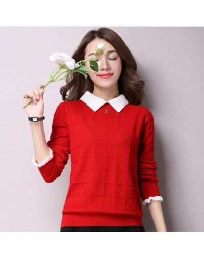 Pullovers Women 2019 Autumn New Plus Size Casual Knitted Tops Female Solid Color Long Sleeves Cashmere Pullover Sweaters OK8...