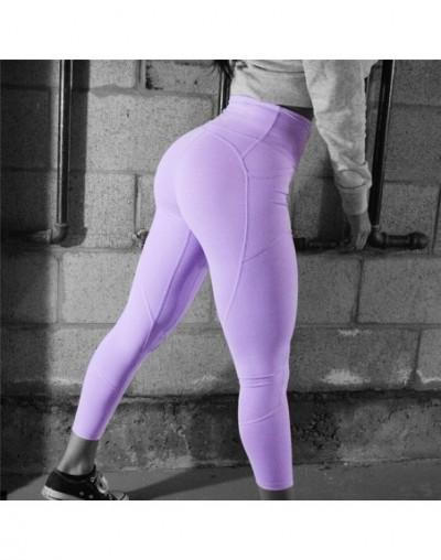 Women's High Waist Leggings Push Up Leggings Workout Leggings Female Patchwork Sportswear Jeggings Leggings Femme - Purple -...