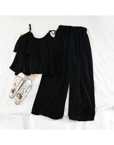 Korean New Version 2019 Student Loose Halter Shirt Top High Waist Wide Legs Nine Pieces Chiffon Two Piece Set Women - Black ...