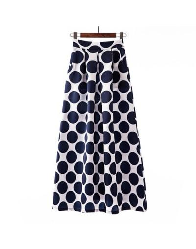 Striped Floral Print Skirt Women 2019 Spring Summer Big Large Long Maxi Plus Size High Waist Pleated Skirt Female - 17 - 4Z3...
