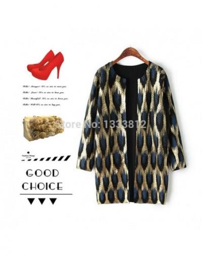 Winter Hot Sale 2016 New Europe And America Women's Tide Leopard Bronzing Sweater Coat Round Collar Knitting Sweater Coat - ...
