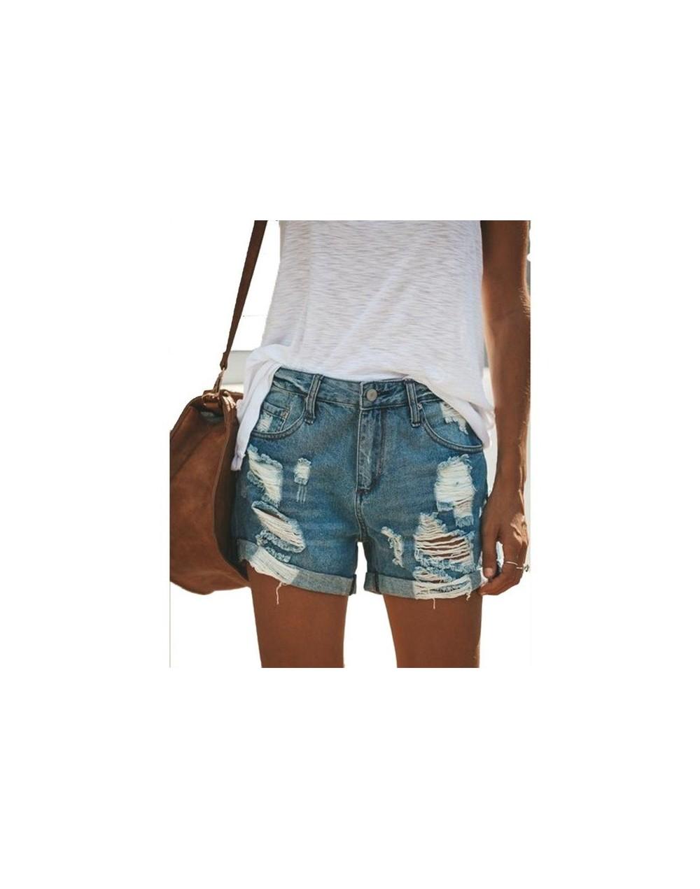 Summer Denim Shorts For Women Sexy Mini Shorts Women's Holes Jeans Blue High Waist Shorts Ripped Denim Short Female Plus Siz...