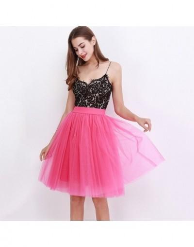 5 Layers 60cm Princess Midi Tulle Skirt Pleated Dance Tutu Skirts Womens Lolita Petticoat Jupe Saia faldas Party Puffy Skirt...