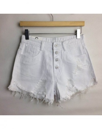 2019 European and American BF summer wind female blue high waist denim shorts women worn loose burr hole jeans shorts - Whit...