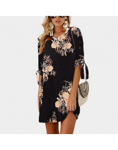 2019 Women Summer Dress Boho Style Floral Print Chiffon Beach Dress Tunic Sundress Loose Mini Party Dress Vestidos Plus Size...