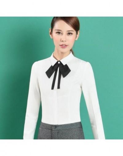 New spring elegant bow tie women white shirt OL formal slim long-sleeve chiffon blouses office ladies plus size work wear to...