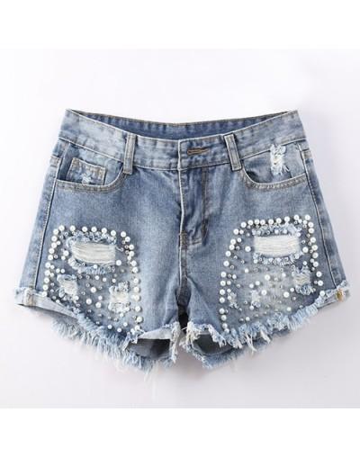 High Waisted Denim Shorts Women Ripped Women's Hot Jeans Shorts Mujer Sexy Hot Pearl Beading Short Feminino Summer - Light b...