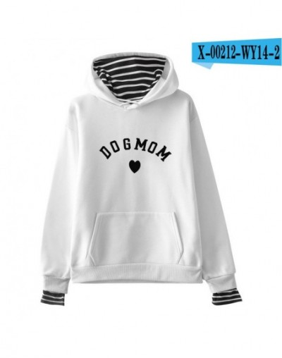 Women hoodies sweatshirts Fake two pieces Casual Dog mom letter print new pullovers Style Female autumn winter Hoodies - whi...
