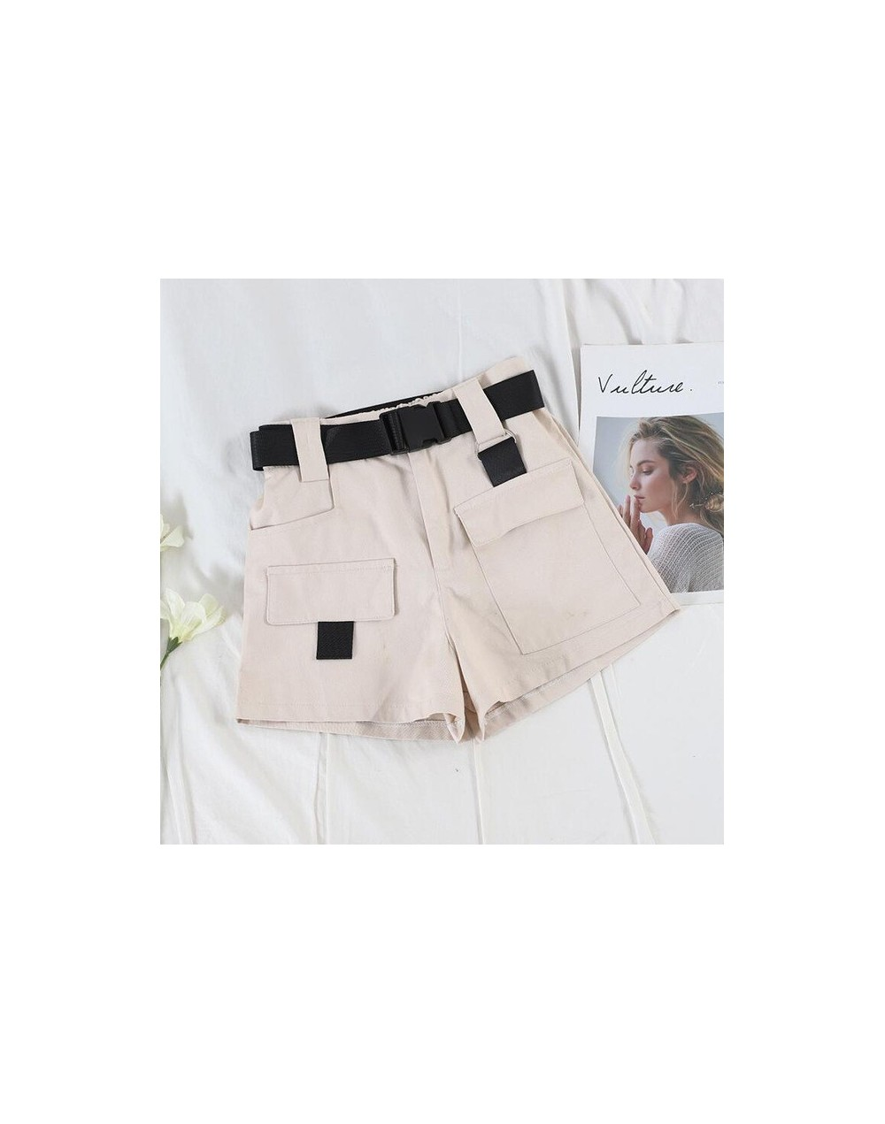 casual high waist overalls women loose thin casual multi-pocket shorts belt - apricot 2 - 434166207970-4