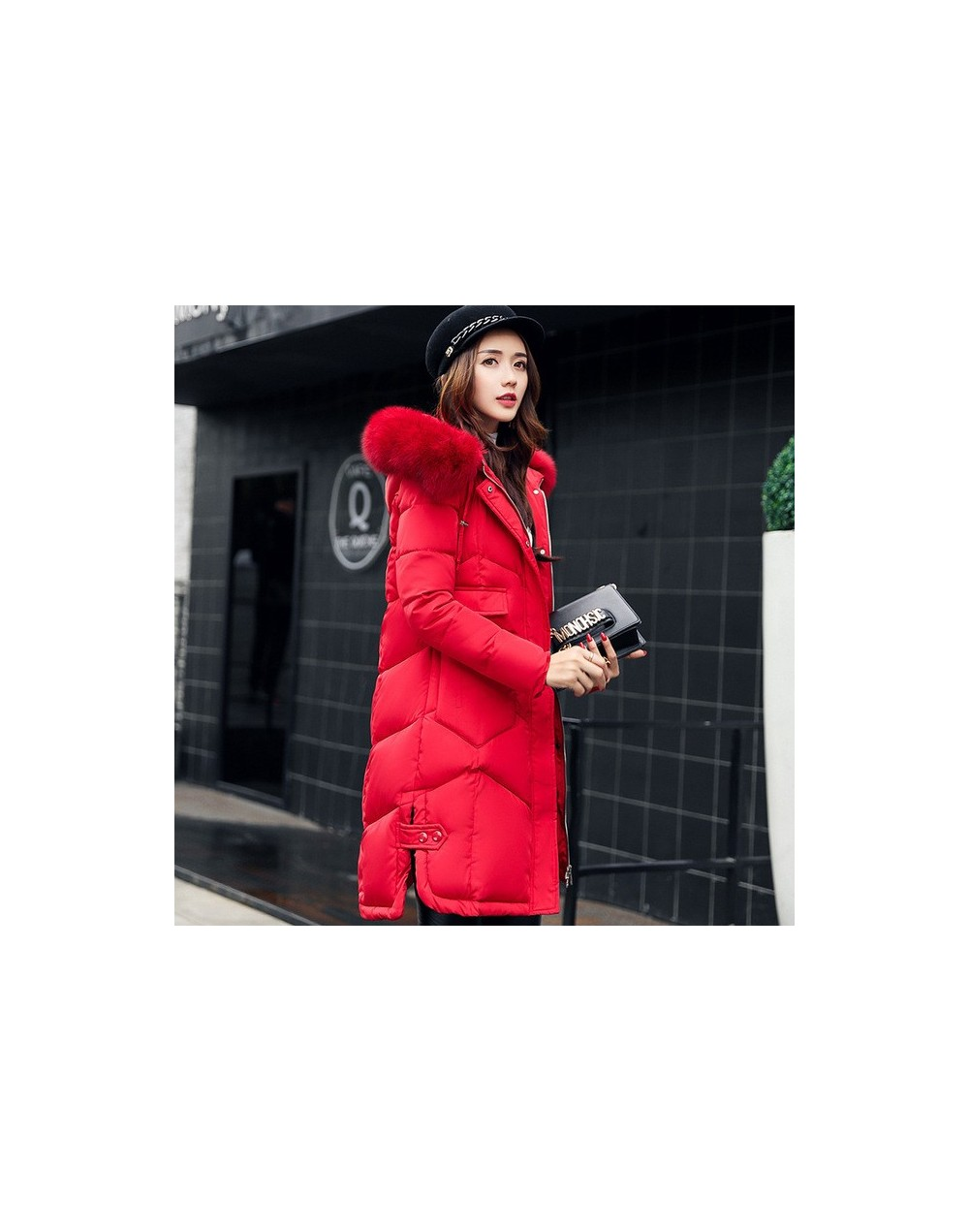 Plus Size Large Fur Collar Hooded Winter Parka Female Cotton Casual Fashion Coat Outerwear Red Padded Jackets Thickening TT2...