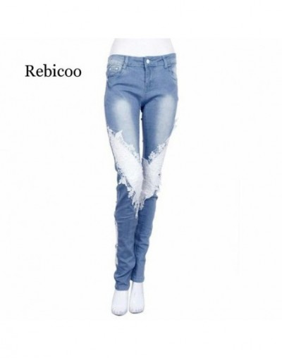 Women Ladies Lace Stitching Jeans Skinny Pencil Pants Denim Casual Trousers Distressed - Blue - 53111182819837
