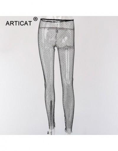 Black Diamonds Fishnet Sexy Pants Women Bottoms Crystal Rhinestones Hollow Out Transparent Beach Club Party Trousers - Black...