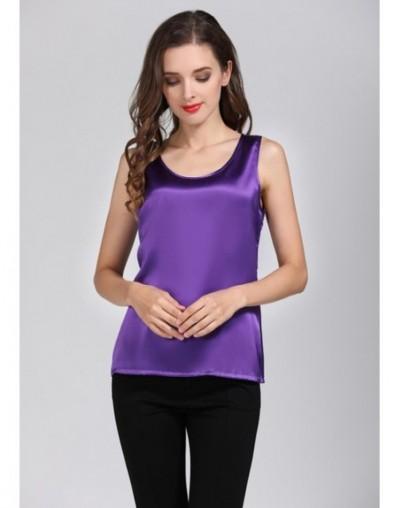 Quality 100% Pure Silk Classical Tank Top Camisole Sleeveless Vest Shirt YM005 - purple - 4W3064937107-16