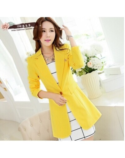 2019 Spring Autumn Women Work Wear Small Suits Jacket Single Button Long Blazers Coats Ladies Green Outerwear For Female - Y...