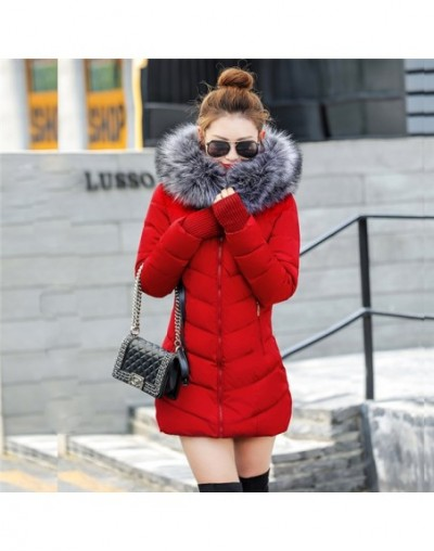 winter jacket women 2019 female coat Hooded Slim Outwear woman long parka Faux fox fur Cotton Padded abrigos mujer invierno ...
