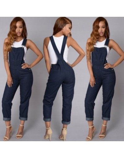 New Women Slim Denim Overalls Jeans Pants Ripped Overalls Straps Jumpsuit Rompers Trousers - - 4H3064775038
