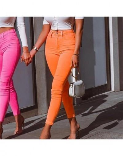 Fluorescence Slim Bright Pencil Pant Women 2019 Pockets Zippers High Waist Long Pants Streetwear Office Lady 3 Color - orang...