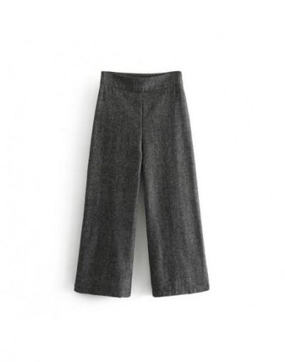women gray suit pants pockets retro office ladies work pants elegant wide leg pants chic trousers pantalones mujer DA02 - Da...