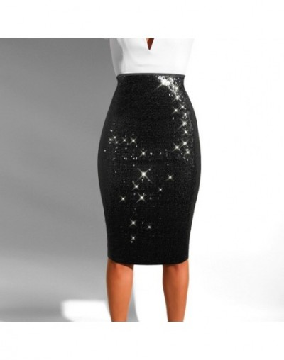 2019 spring new women's sequined skirt sexy nightclub sequins slim bag hip skirt with lined bottoms - Black - 423084719993-1