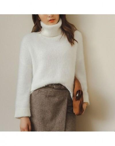 2019 Female Loose Cashmere Knit Sweater Big Sleeves Turtleneck Crop Top Pullover Women Winter Thicken Warm Knitwear Wool Swe...