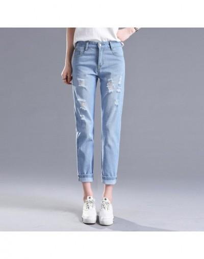 2018 Winter Ripped Jeans Woman High Waist Boyfriend Jeans For Women Plus Size Blue Black White Denim Mom Jeans Pants Trouser...